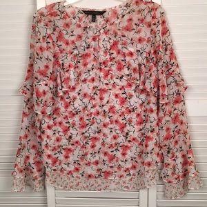 WHBM Lovely Floral and Ruffle Lined Blouse. SZ 8.
